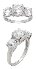 3 Stone Solitaire Cubic Zirconia Sterling Silver 925 Ring