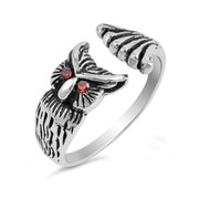 Owl Simulated Garnet Cubic Zirconia Designer Ring Sterling Silver 925