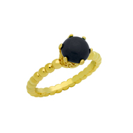 Cabochon Simulated Onyx Bead Band Ring Yellow Gold-Tone Sterling Silver