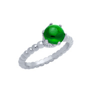 Cabochon Simulated Emerald Bead Band Ring Rhodium Plated Sterling Silver