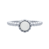 Cabochon Simulated Pearl Bead Band Ring Rhodium Plated Sterling Silver