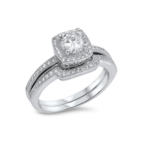 ... Cubic Zirconia Wedding Engagement Ring Sterling Silver 925. Image 1