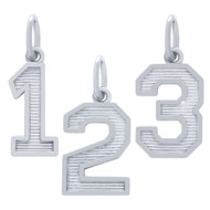 Rhodium Plated Sterling Silver 0 To 9 Numbers Pendant