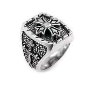 Twisted Blade Silver Rectangle Sterling Silver Designer Ring With Fleur De Lis Cross Center