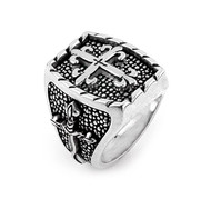 Twisted Blade Rectangle Sterling Silver Designer Ring With Thin Fleur De Lis Cross