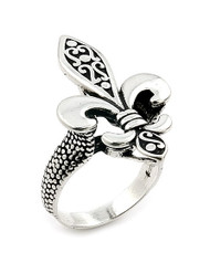 Twisted Blade Silver Fleur De Lis Sterling Silver 925 Ring