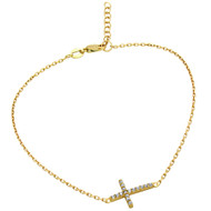 "Gold-Tone Plated Cubic Zirconia Cross Anklet 9"" + 1"""