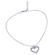 "Rhodium Plated Cubic Zirconia Heart Anklet 9"" + 1"""