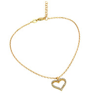 "Gold-Tone Plated Cubic Zirconia Heart Anklet 9"" + 1"""