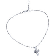 "Rhodium Plated Small Cubic Zirconia Cross Anklet 9"" + 1"""