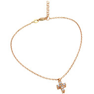 "Rose Gold-Tone Plated Small Cubic Zirconia Cross Anklet 9"" + 1"""