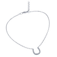"Rhodium Plated Cubic Zirconia Horseshoe Anklet 9"" + 1"""