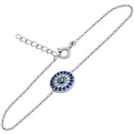 "Clear And Blue Cubic Zirconia Round Bracelet With A Dark Blue Eye Center 6""+1"" Adjustable"