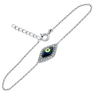 "Clear Cubic Zirconia Eye Bracelet With A Dark Blue Eye Center 6""+1"" Adjustable"