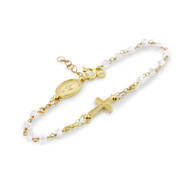 "Gold-Tone Plated Sterling Silver 925 And Simulated Moonstone Rosary Bracelet 7"" + 1"""