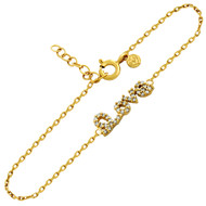 "Gold-Tone Plated Cubic Zirconia Love Bracelet 6.5"" + 1"""