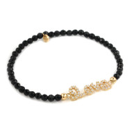Gold-Tone Plated Cubic Zirconia Love Message With Black Spinel Beads Stretch Bracelet 7""