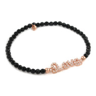 Rose Gold-Tone Plated Cubic Zirconia Love Message With Black Spinel Beads Stretch Bracelet 7""