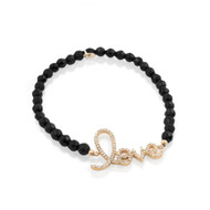 Gold-Tone Plated Cursive Love Black Simulated Onyx Bead Bracelet 7""