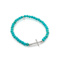 Rhodium Plated Cubic Zirconia Cross On Synthetic Simulated Turquoise Bead Stretch Bracelet 7""