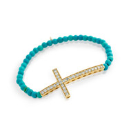 Gold-Tone Plated Large Cubic Zirconia Cross On Synthetic Simulated Turquoise Bead Stretch Bracelet 7""