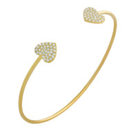 Gold-Tone Plated Cubic Zirconia Double Heart Cuff Bracelet 7""