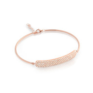 "Rose Gold-Tone Plated Cubic Zirconia Bar On Bangle Style Bracelet 7"" + 1"""