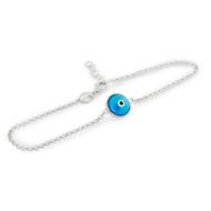 "Rhodium Plated Single Blue Eye Bracelet 7"" + 1"""