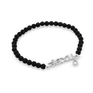 "Rhodium Plated Cubic Zirconia ""Sexy"" Black Simulated Onyx Bead Stretch Bracelet 7"""