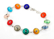 Multi Color Transparent Glass Eye Bracelet 7""
