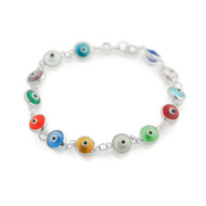 Multi Color Small Transparent Glass Eye Bracelet 6.5""