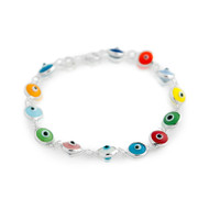 Multi Color Glass Eye Bracelet 7""
