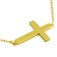 "Gold-Tone Plated Sterling Silver Plain Shiny Cross Necklace 16"" + 2"""