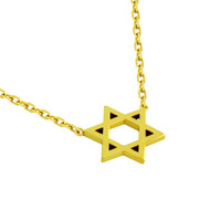"Gold-Tone Plated Sterling Silver High Polished Star Of David Necklace 16"" + 2"""