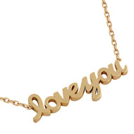 "Rose Gold-Tone Plated Sterling Silver High Polished ""Love You"" Necklace 16"" + 2"""