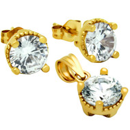 Gold-Tone Plated Round Cubic Zirconia Set Pendant And Stud Earrings
