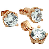 Rose Gold-Tone Plated Round Cubic Zirconia Set Pendant And Stud Earrings
