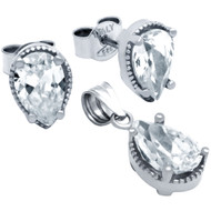 Rhodium Plated Pear Shape Cubic Zirconia Set Pendant And Stud Earrings