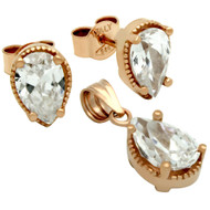 Rose Gold-Tone Plated Pear Shape Cubic Zirconia Set Pendant And Stud Earrings