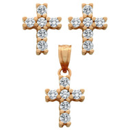 Rose Gold-Tone Plated Cross Cubic Zirconia Set Pendant And Stud Earrings