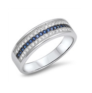 Three Lines Designer Simulated Sapphire Cubic Zirconia Ring Sterling Silver 925