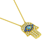 "Clear And Blue Cubic Zirconia Gold-Tone Plated Hand Necklace With A Light Blue Eye Center 16""+1"" Adjustable"