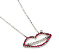 "Lip Shaped Clear And Red Cubic Zirconia Necklace 16""+1"" Adjustable"