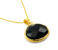 "Gold-Tone Plated Sterling Silver 925 And Simulated Onyx Necklace 16""+2"" Adjustable"