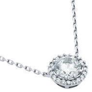"Round Cubic Zirconia Pendant With 16""+2"" Chain"
