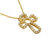 "Gold-Tone Plated Cubic Zirconia Cutout Cross Necklace 16""+1"" Adjustable"