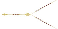 """Gold-Tone Plated Simulated Garnet Rosary Necklace 18"""" + 2"""""""