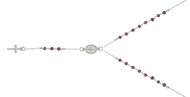 "Rhodium Plated Simulated Garnet Rosary Necklace 18"" + 2"""