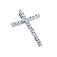 Small Rhodium Plated Cross Pendant With Cubic Zirconia