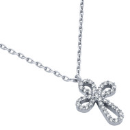 "Rhodium Plated Rounded Cross Cubic Zirconia Necklace 16"" + 2"""
